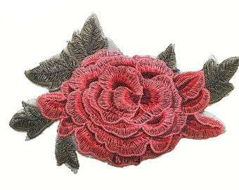 Beautiful embroidered red flower patch applique