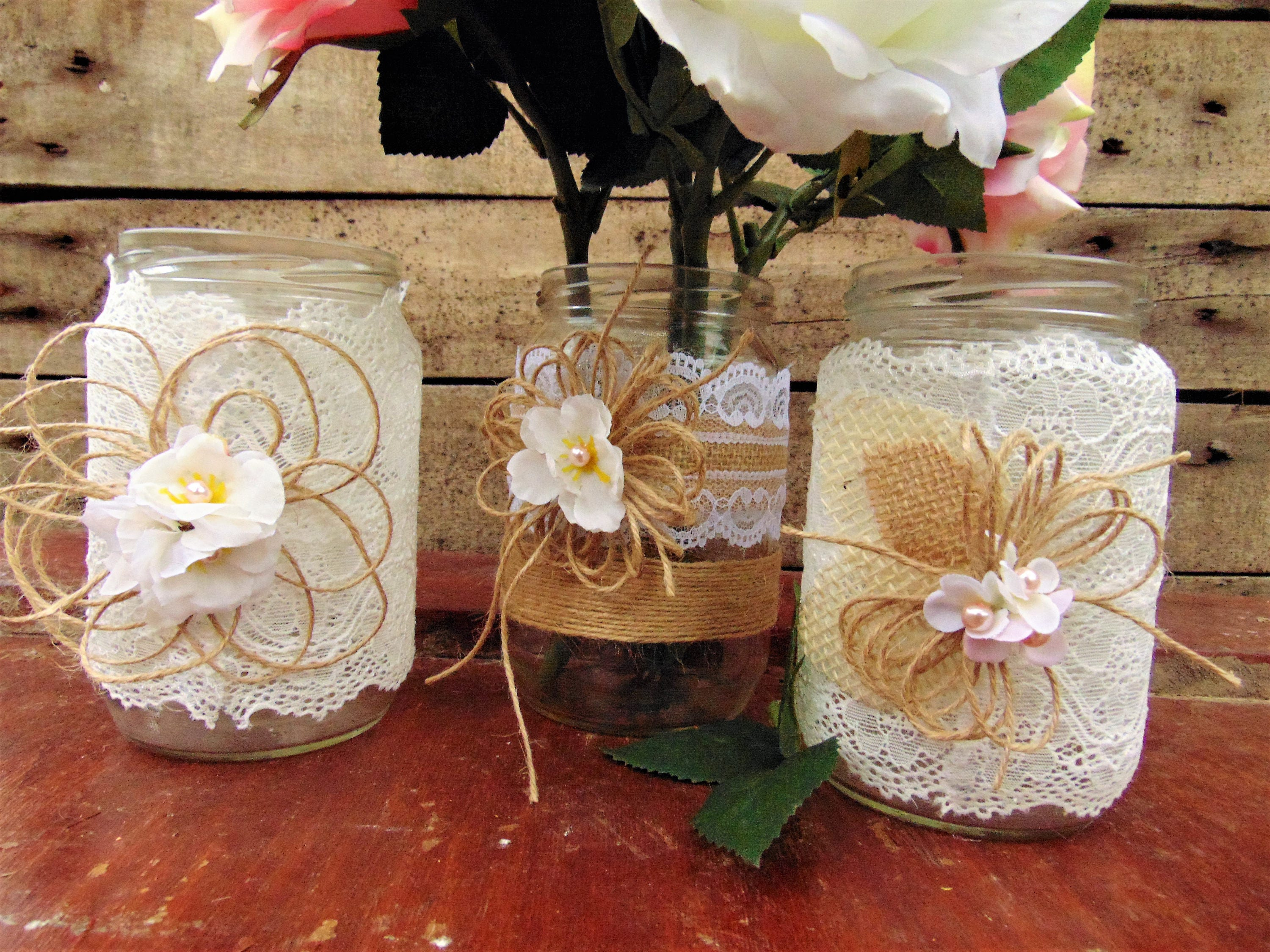 Set of 3 Burlap Lace Mason Jars,Rustic Wedding,Wedding Centerpiece ...
