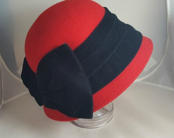 Vintage Deborah Red Cloche Hat w/ Black Velvet Bow