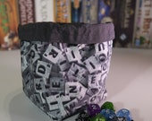 Dice Bag Scrabble Print  Tile Letter Pouch  Freestanding  Cotton  Reversible  Drawstring  Handmade  Gifts for Gamers  Geek Gift