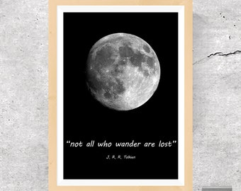 Not All Who Wander Are Lost, Not All Who Wander Are Lost Print, Famous Quotes, Wall Print Wisdom, Inspirational Quote, Motivational Poster