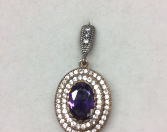 Sterling Silver 925 Pendant with Brass and CZ Stones & Purple Crystal