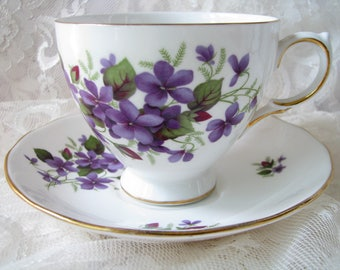 Queen Anne cup saucer Purple cup saucer Violet flower cup saucer Mother gift for her Bone china cup Purple decor Collectible cup Tea set