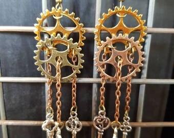 Steampunk Gear and Key Earrings