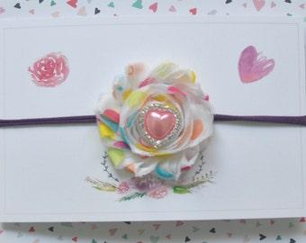 Spring Chiffon Flower Headband with Nylon Headband -Easter headband -Baby girl -toddler - Hearts -Accessories -Baby shower gift -Spring