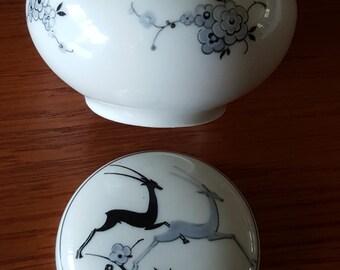 Vintage  Porcelain Antelope / Deer Vanity Jar  Thomas Mouson