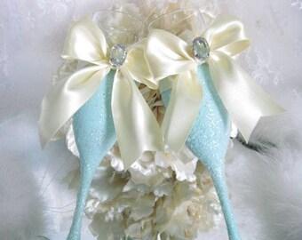 Weddings, Champagne Glasses, Champagne Flutes, Wedding Toasting, Turquoise Wedding, Aqua Bridal Shower, Quinceanera Decor, Robin Egg Blue, C