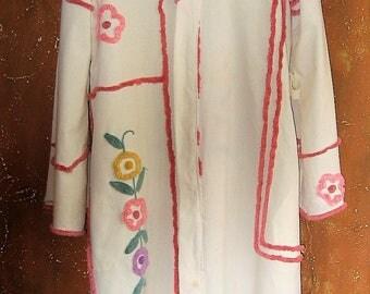 Vintage Chenille Floral Robe