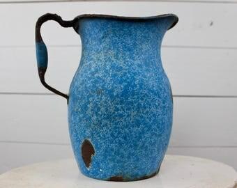 Vintage Blue Enamel Pitcher/ Vintage kitchen/ Farmhouse kitchen/ Farmhouse enamel