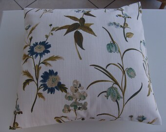 Cushion Cover Botanical Blue by Fryetts. Size 17.5 ins square. Hand Made in Lancashire.Envelope fastening.