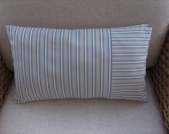 "Cushion Cover Rectangular/lumbar 20"" by 12"" Chambray Stripe off White,Navy and Fawn"