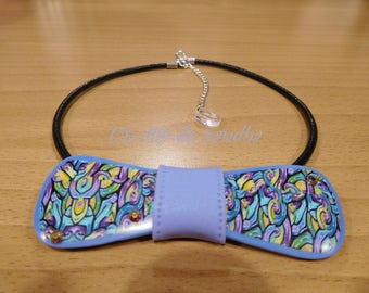 "Collar bow tie ""Pap's Lavender"", in polymer clay."