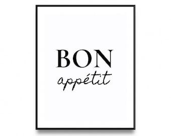 Bon Appetit Print, Kitchen Poster, bon appetitt, bon appetite, bon appetit, bon print