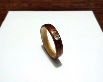 Woman's Wooden Ring. Bentwood Ring. Handcrafted Wood  Ring. Walnut and Maple woods. With Swarovski crystal