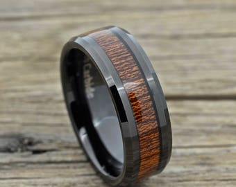 Black Tungsten Koa Wood Ring, Beveled Edge Comfort Fit Design