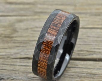 Black Tungsten Wood Ring With Hawaiian Koa Wood Inlay, Hammered and Brushed 8mm Comfort Fit Wedding Band