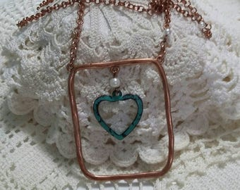 Copper and weathered teal heart pendant necklace