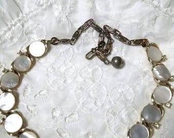 Lisner mother of pearl and rhinestone choker necklace