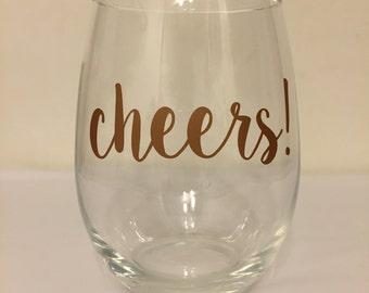 Cheers! Stemless Wine Glass
