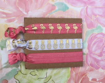 Flamingo Hair Elastic Ties | Pineapple Hair Ties | Bridesmaid Gift