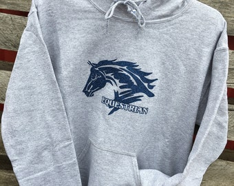 "Adult Hooded Sweatshirt ""Equestrian""SPORT GREY"