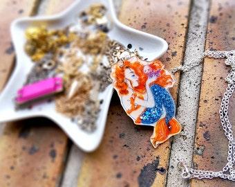 Necklace illustrated woman Mermaid and Medusa / Mermaid necklace handmade