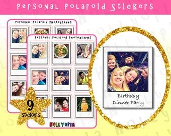 9 Polaroid Photograph Planner Stickers, PERSONALISED, Photo Stickers,  Perfect for your Happy Planner, Erin Condren, Filofax, etc, UK