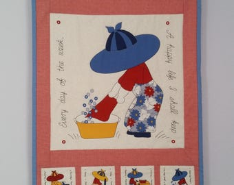 """Washing Day quilted wall hanging with embellishments, 27""""x15"""""""