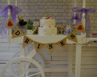 Drinks Wedding Garland, Burlap Bunting, Custom Garland, Hessian Banner Sweets Table Decorations Ideas Rustic Burgundy
