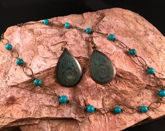 Teal bronze Necklace and Earrings Set