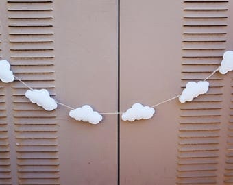 Felt Cloud Garland-Cloud Bunting- Nursery Decor-Baby Shower-White Cloud Garland