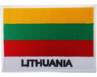 Lithuania Flag Patch Iron On Badge / Sew On Lithuanian Flag Embroidered Applique