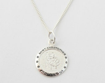 MENS 925 Sterling Silver Saint Christopher, Personalised Engraving, Includes Gift Box & Free Shipping