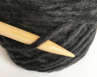MERINO WOOL/ALPACA Chunky/ Bulky Weight Black Recycled Yarn