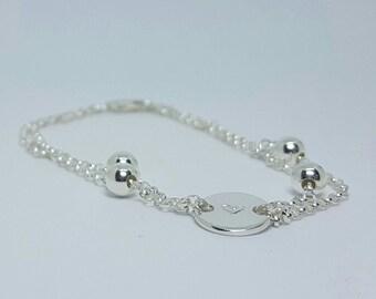 Sterling silver cute heart bracelet