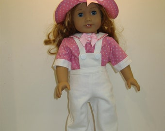 American Girl Doll White Denim Overalls with Over-sized Pink Polka Dot Shirt