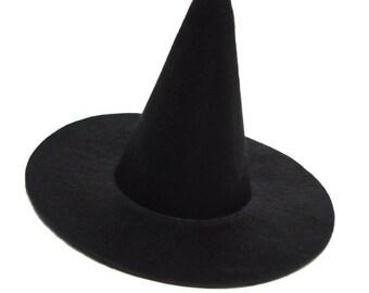"""6"""" Black Mini Flocked Felt Witch Hats"""