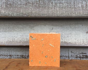 Hand Bound Little Notebook Covered with Orange Handmade Paper