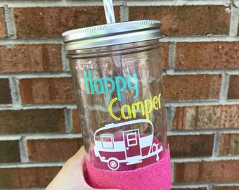 Happy Camper Mason jar tumbler//Glitter dipped mason jar//Personalized tumbler