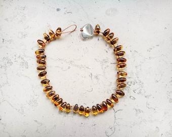 "Bracelet man pearls ""Tahiti"" Amber"