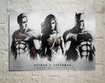 Batman Vs Superman Dawn Of Justice Superman, Batman, Wonder Woman Artwork Home Decor wallpaper decoration photo poster