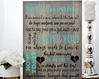 1st Anniversary Gift, Gift for Couples, Anniversary Gift, Wedding Anniversary, Custom Anniversary, Canvas Print,  Paper Anniversary