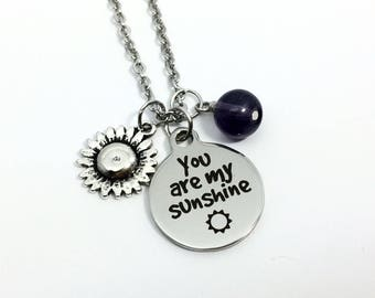 You are my Sunshine Necklace, Sunshine Necklace, Sunshine Jewellery, Daughter Necklace, Girlfriend Necklace, Gift for Her, Personalized