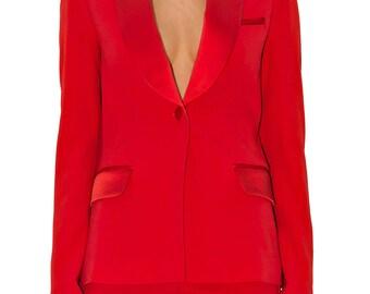 Red crepe Tuxedo Jacket