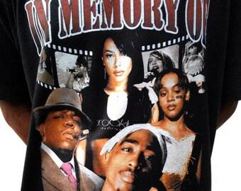Vintage design Inspired with In Memory Of Aaliyah Tupac Notorious BIG Lisa LeftEye TLC T shirt