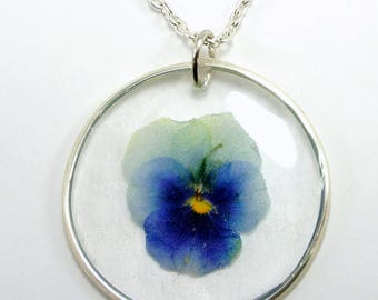 Real Flower Necklace, Pansy Pendant, Pansy viola resin jewelry, Pressed Flower, dried flower jewelry, Gift for Women, Romantic gift
