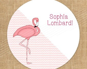 Personalized Gift Enclosure Cards & Custom Kids Gift Tags   Pink Flamingo  |  D-GT2.017