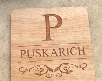 Custom wooden coasters - Set of 4 laser etched