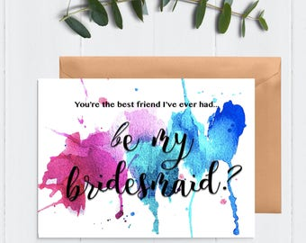Artistic bridesmaid Card / Will you be my bridesmaid maid of honor / Artistic bridesmaid card / Bridal party card