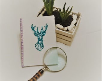 Deer-embroidered Canvas Notebook (A5 size)